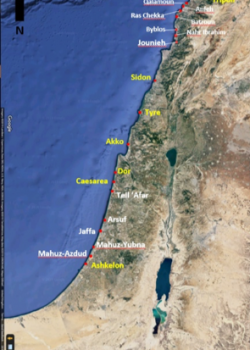Map of the Levantine coast featuring the sites of interest.